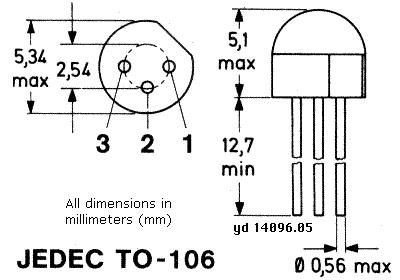 Корпус транзистора  2N3641