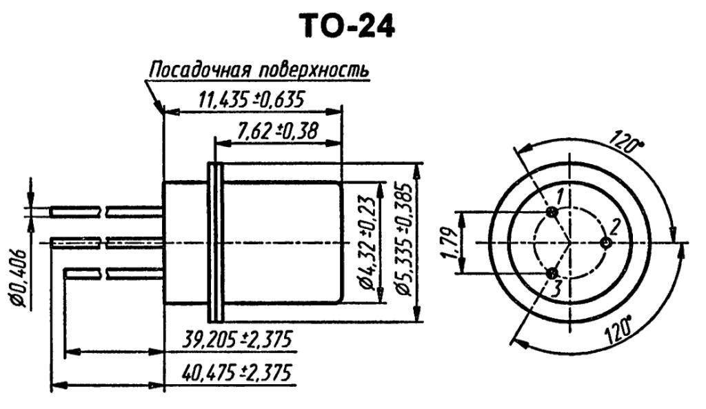 Корпус транзистора  2N345