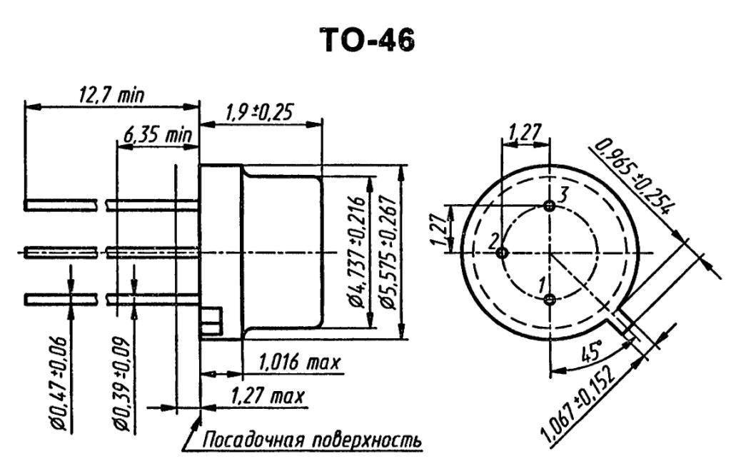 Корпус транзистора  2N3061
