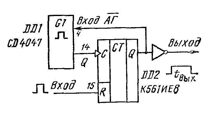 4047 - схема со счётчиком для затягивания выходного импульса