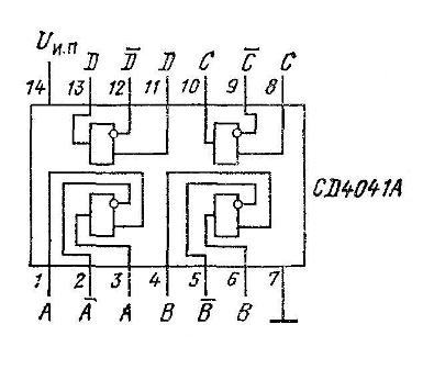 Микросхема 4041 - структурная схема схема и цоколёвка