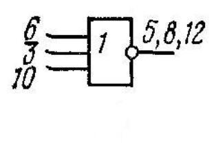 К176ЛП1 - трёхвходовая схема ИЛИ-НЕ. Соединить: 13 и 2; 1 и 11; 12, 5 и 8; 7, 4 и 9.