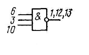 К176ЛП1 - трёхвходовая схема И-НЕ. Соединить: 1, 12 и 13; 2, 4 и 11; 4 и 8; 5 и 9.