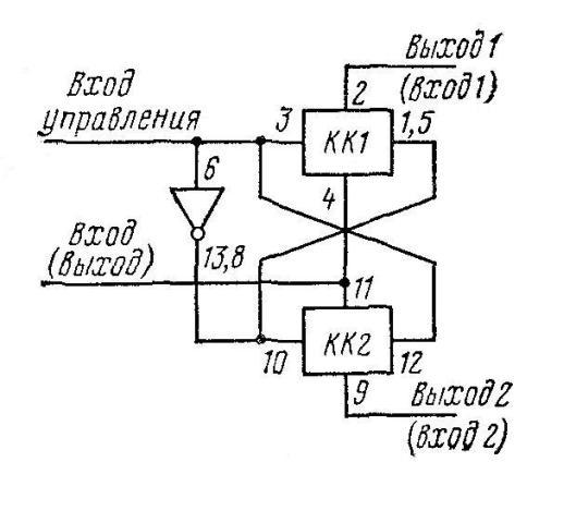 К176ЛП1 - инвертор с большим током в обоих направлениях. Соединить: 6, 3 и 10; 14, 12 и 11; 7, 4 и 9; 13, 8, 1, 5 и 12.