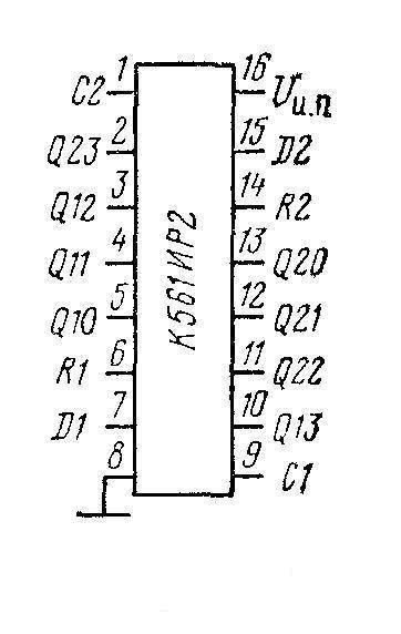 К176ИР2, К561ИР2 (CD4015A) - цоколёвка