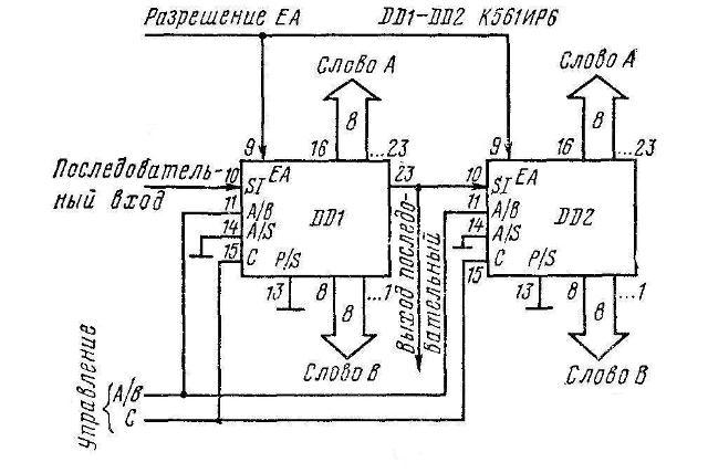 К561ИР6 (CD4034A) - 16-разрядный регистр схема 2