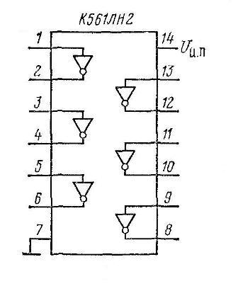 Микросхема К561ЛН2 содержит