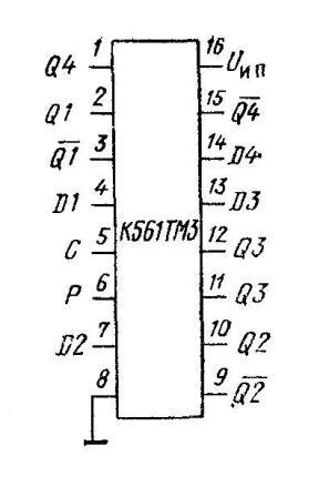 К561ТМ3 - цоколёвка микросхемы