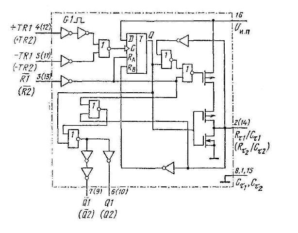 К564АГ1 (CD4098B) - функциональная схема одного мультивибратора