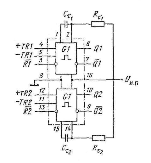 К564АГ1 (CD4098B) - включение двух мультивибраторов