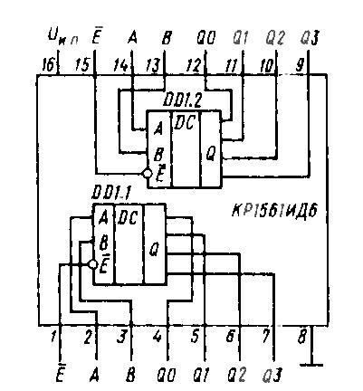 Микросхема КР1561ИД6 (14555BE)