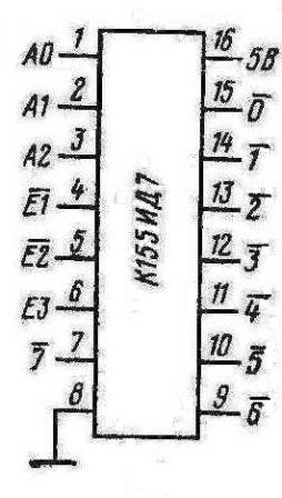 Цоколёвка микросхемы К155ИД7 (74138)
