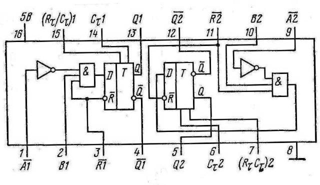 К155АГ3 сдвоенный мультивибратор