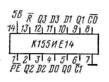 Цоколёвка  микросхемы К155ИЕ14 (74196)