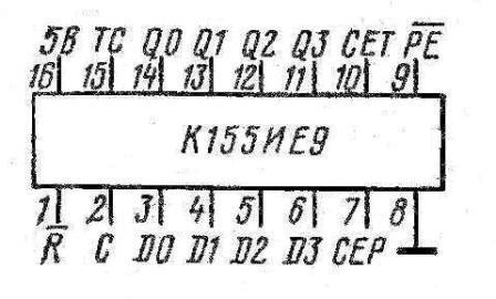 Цоколёвка микросхемы К155ИЕ9 (74160)