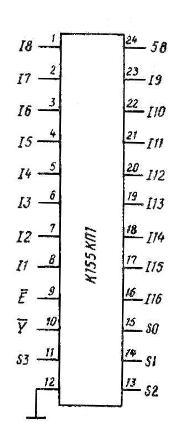 Цоколёвка мультиплексора К155КП1 (74150)