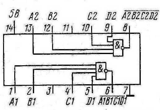 К155ЛА7, КМ155ЛА7 (7422) - функциональная схема