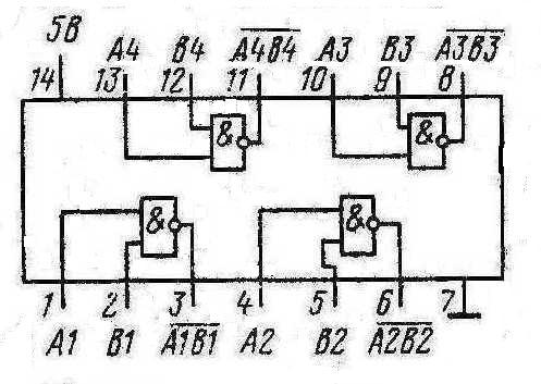 Микросхемы К155ЛА13, КМ155ЛА13, 7438