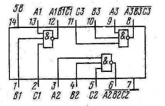 Микросхемы К155ЛА4, КМ155ЛА4 (7410)