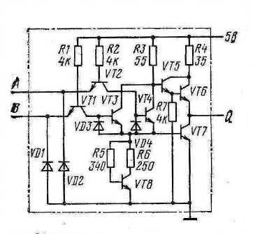 Принципиальная схема одного элемента микросхем К155ЛЕ1, КМ155ЛЕ1(7402)