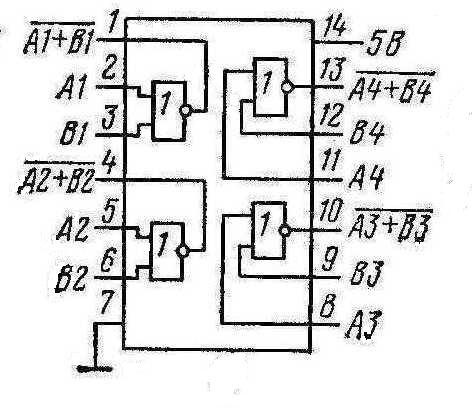 Микросхемы  К155ЛЕ1, КМ155ЛЕ1 (7402)