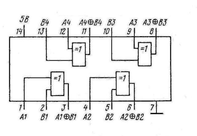 К155ЛП5, КМ155ЛП5 7486 SN7486N, SN7486J