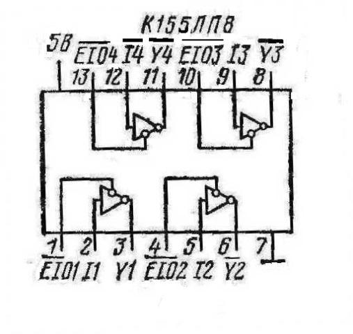 К155ЛП8, КМ155ЛП8, (74125), SN74125N, SN74125J