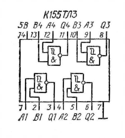 К155ТЛ3 74132 SN74132N структурная схема