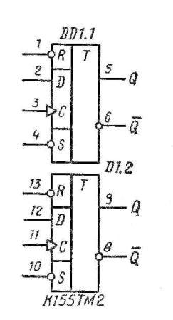 К155ТМ2, КМ155ТМ2 7474 SN7474N, SN7474J функциональная схема