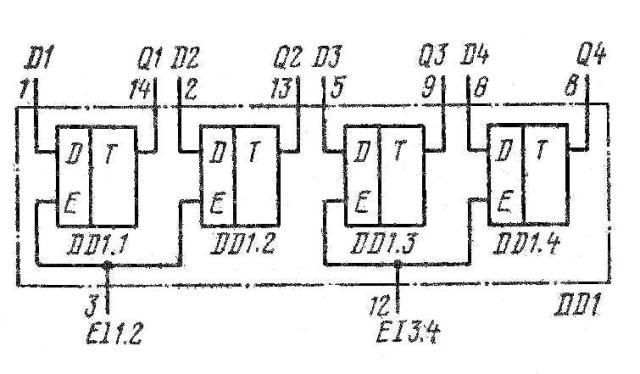 К155ТМ5, КМ155ТМ5, 7477, SN7477N, SN7477J функциональная схема