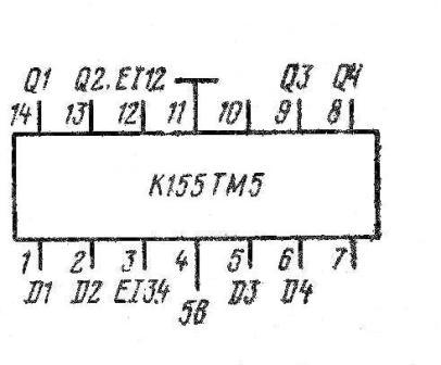 К155ТМ5, КМ155ТМ5, 7477, SN7477N, SN7477J цоколёвка