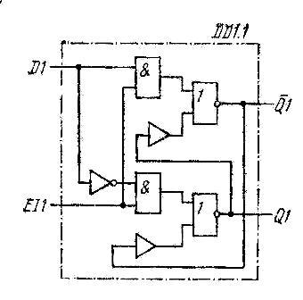 Схема одного D-триггера микросхем К155ТМ5, КМ155ТМ5, 7477, SN7477N, SN7477J