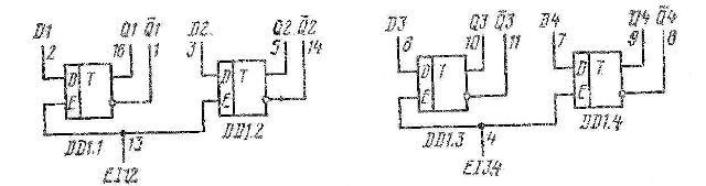 К155ТМ7, КМ155ТМ7, SN7475N, SN7475J функциональная схема