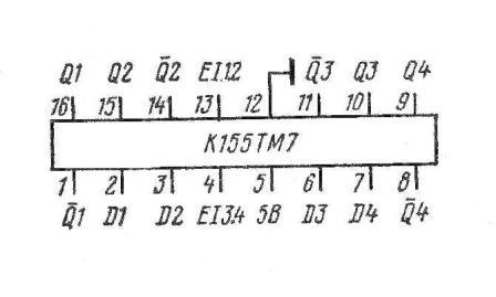 К155ТМ7, КМ155ТМ7, SN7475N, SN7475J цоколёвка