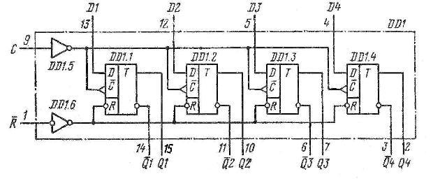 К155ТМ8, КМ155ТМ8, 74175 SN74175N, SN74175J структурная схема