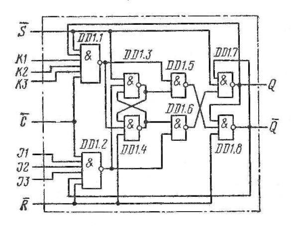 К155ТВ1,  КМ155ТВ1 (7472) JK-триггер функциональная схема