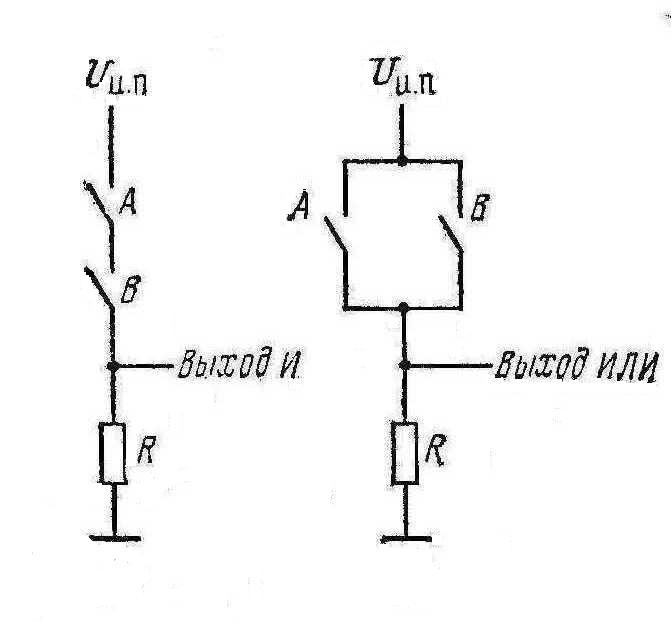 Двухвходовые логические элемента И и ИЛИ