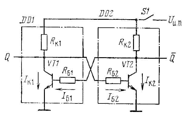 Схема двухтранзисторной защёлки