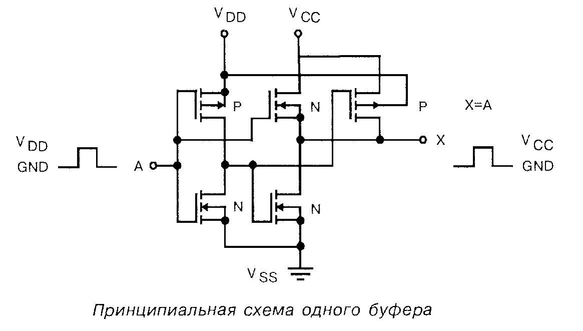 4010 - принципиальная схема одного буфера