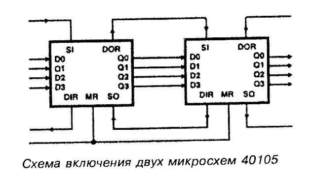 Схема включения двух микросхем 40105