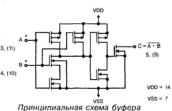 Микросхема 40107 - принципиальная схема буфера
