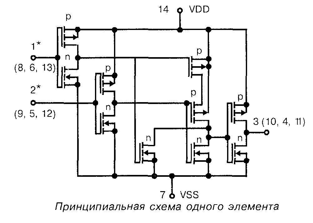 4011 - принципиальная схема одного элемента