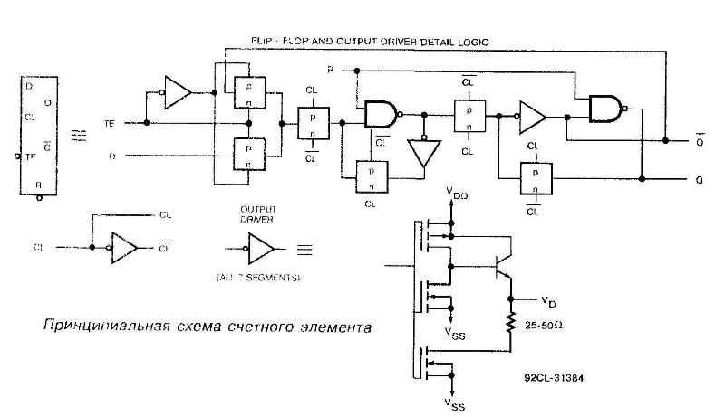 Микросхема 40110 - принципиальная схема счётного элемента