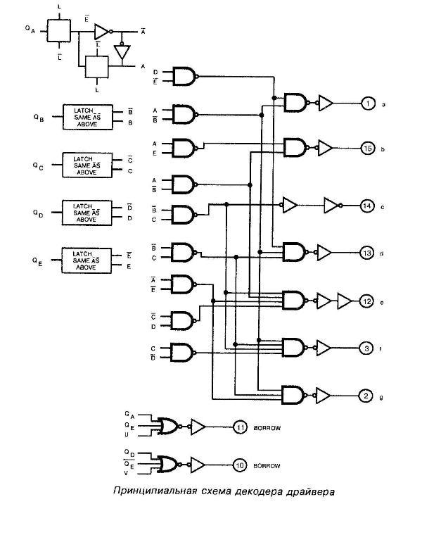 Микросхема 40110 - Микросхема 40110 - принципиальная схема декодера драйвера