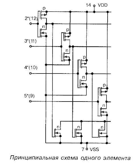 4012 - принципиальная схема одного элемента