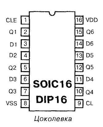 Микросхема 40174 - цоколёвка