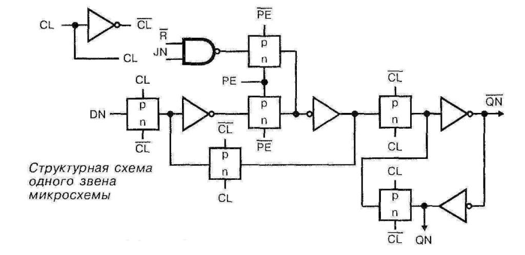 Микросхема 4018 - структурная схема одного звена