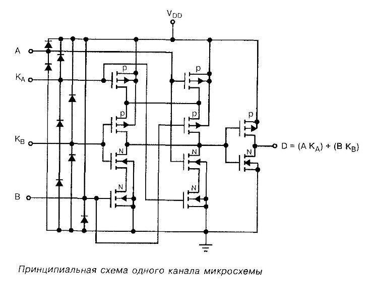 4019 - принципиальная схема одного канала микросхемы