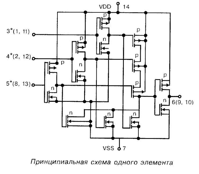 Микросхема 4023 - принципиальная схема одного элемента