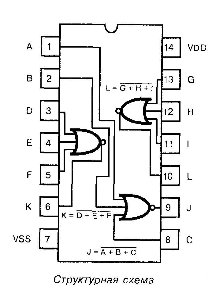 Микросхема 4025 - структурная схема